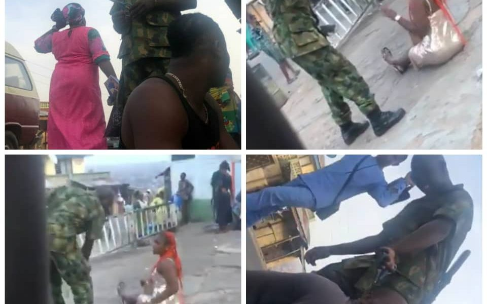 Viral Video: Soldier cut on camera molesting a lady in Ibadan over indecent dressing Arrested