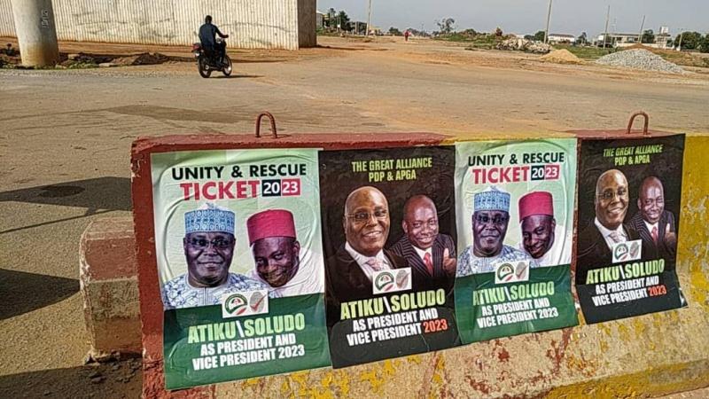 Atiku, Soludo's campaign posters hit roads in Abuja