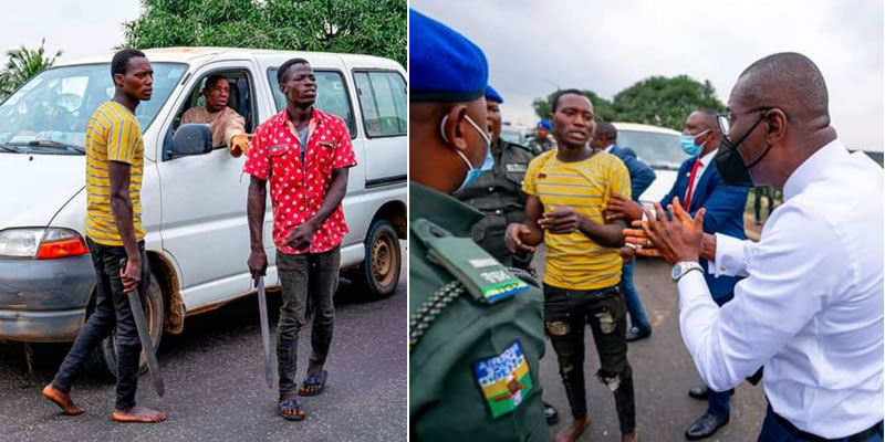 Caught-in-Act: Lagos state Governor apprehend three-armed traffic robbers